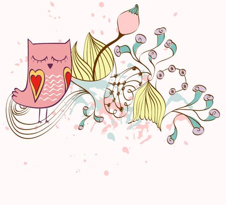 illustration with owl sitting on the branches. Fantasy flowers