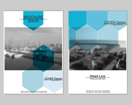 brochure cover design: Vector brochure cover templates with blurred seaport. Business brochure cover design. EPS 10. Mesh background.