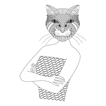 anthropomorphism: Fashion cat woman. Coloring book for adults, vector illustration, isolated on a white background.