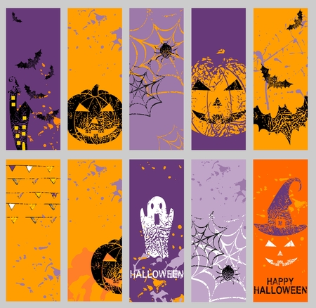 Vector set of art banners for Halloween.