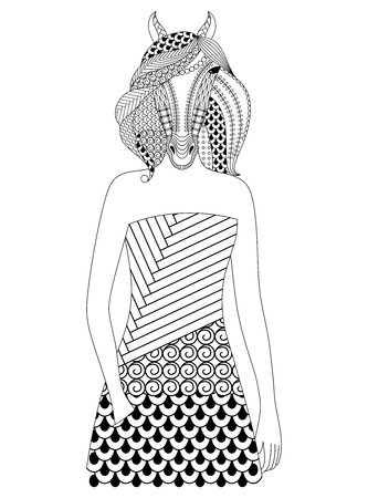 anthropomorphism: Fashion horse woman. Coloring book for adults, vector illustration, isolated on a white background.