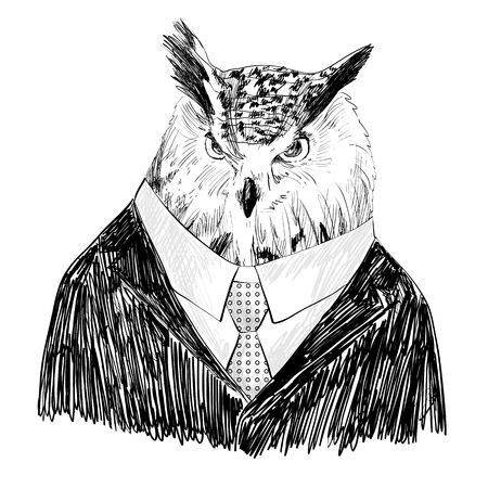 human eye: Vector sketch of owl in a suit. Hand drawn illustration