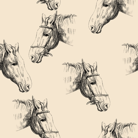 head profile: vector sketch of a horses head. Seamless pattern