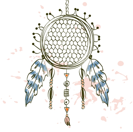 nap: hand drawn illustration tribal amulet with feathers