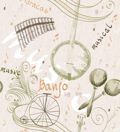 zampona: Dibujado a mano sin patrón de instrumentos musicales clásicos. fondo musical
