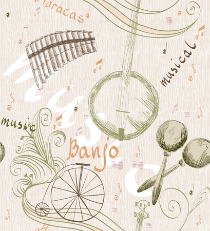 panpipe: Hand drawn seamless pattern of classical musical instruments. Musical background