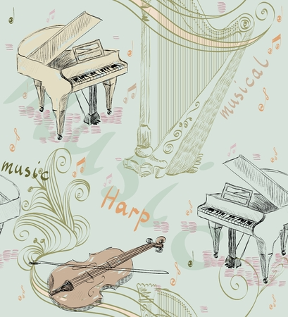hand drawn seamless pattern of classical musical instruments. Musical background