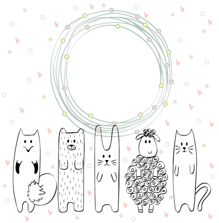 Frame with cartoon animals on a white background  イラスト・ベクター素材