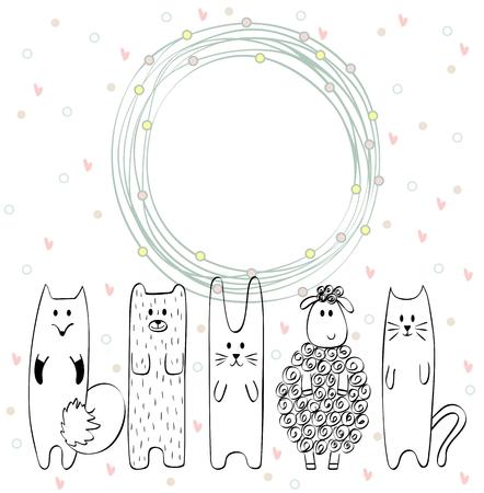 Pagina con animali di cartone animato su uno sfondo bianco Archivio Fotografico - 63557471