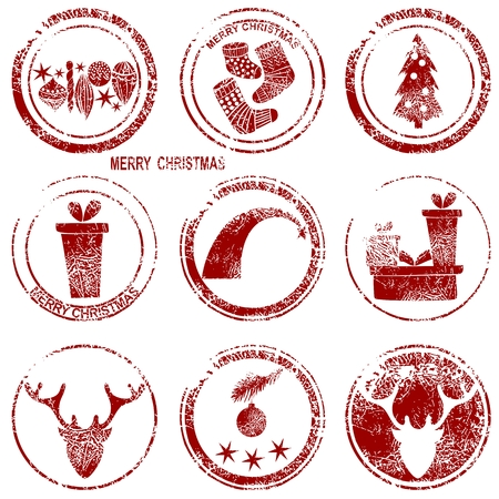 Merry Christmas stamp with art Christmas elements Vector Illustration