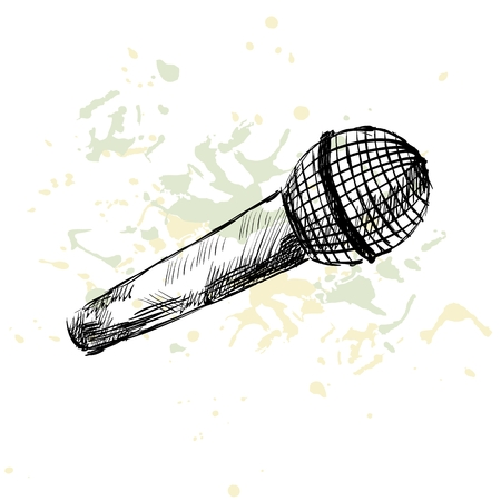 amplification: Sketch microphone on a white background with blots