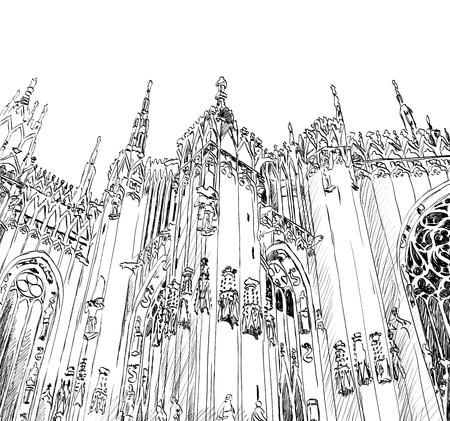 Vector sketch of the Duomo di Milano.
