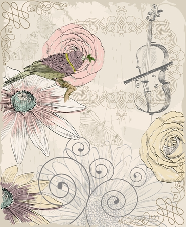 Retro background. Illustration of a bird and blooming summer flowers Illustration