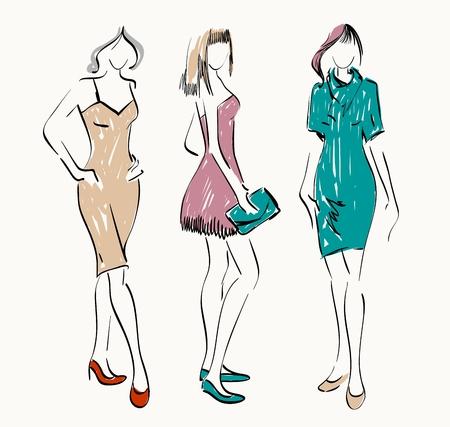 modelos de moda de croquis. Las mujeres muestran ropa de moda
