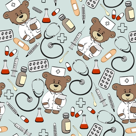 Seamless pattern with teddy bear doctor. Healthcare and medical research background.