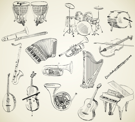 hand drawn set of classical musical instruments Çizim