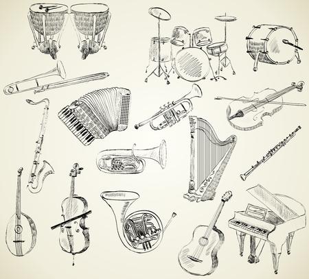 Hand getrokken set van klassieke muziekinstrumenten