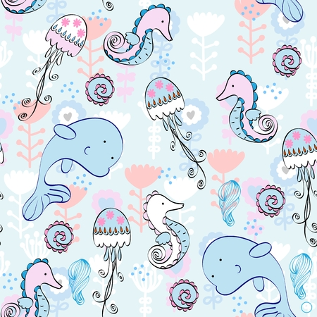 cockleshell: Babies hand-drawn sea seamless pattern. Sea background