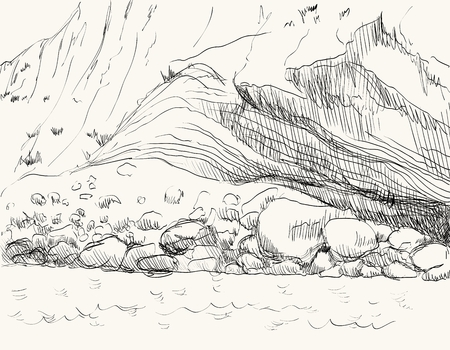 crag: Vector summer seascape sketch.  Rocky shore, lapped by the surf Illustration