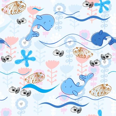 small children: Babies hand-drawn sea seamless pattern. Sea background