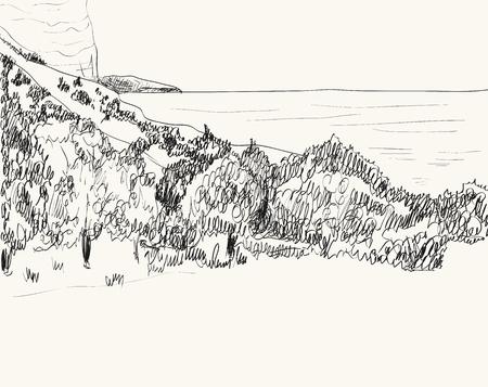 Vector estate paesaggio marino schizzo. costa rocciosa, lambito dalle onde