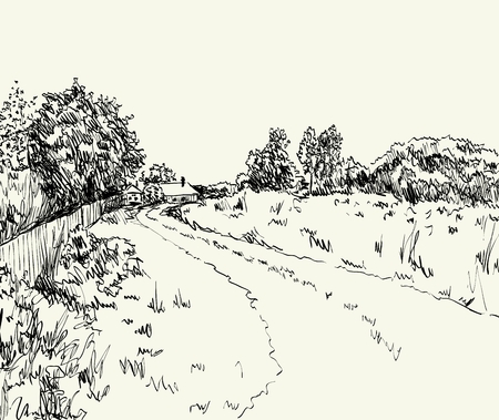 country house style: vector illustration  summer landscape with country road