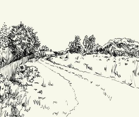Vektor-Illustration Sommerlandschaft mit Landstraße Vektorgrafik