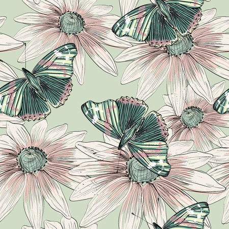 Illustration of beautiful butterflies flying around flower. Illustration
