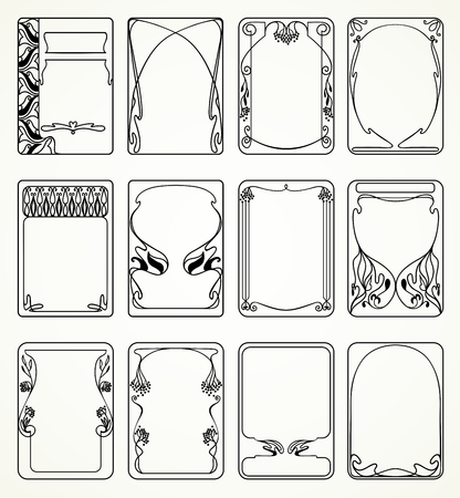 Labels in art nouveau style for decoration and design