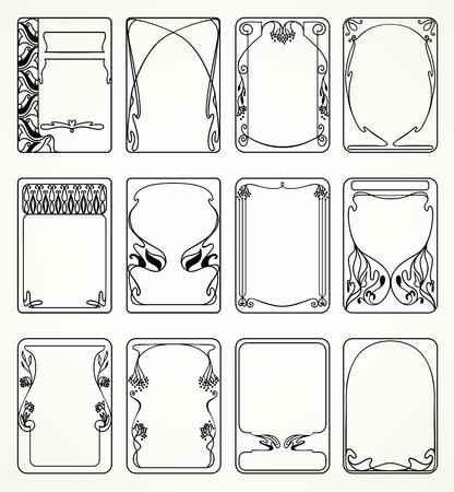 Labels in art nouveau-stijl voor decoratie en ontwerp Stock Illustratie