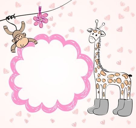 Cute scrapbook  with baby elements. Hand draw illustration.