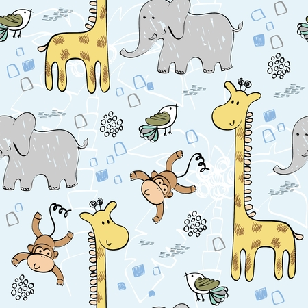 babies hand draw seamless pattern with animals Иллюстрация