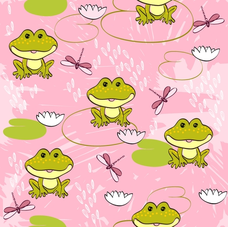 Sweet seamless pattern with frogs and dragonflies  イラスト・ベクター素材