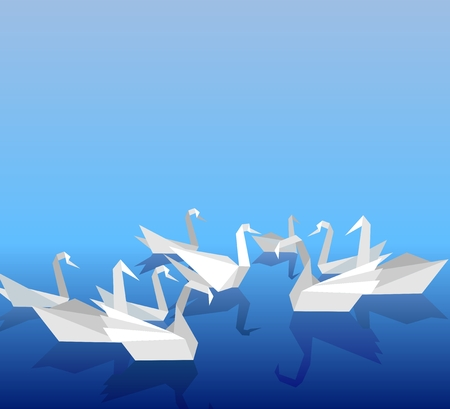 floating in water: illustration of paper swans floating on the water.