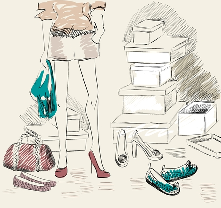 female legs: Young woman shopping for fashion shoes . Illustration