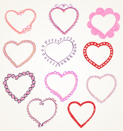 Heart Designs For Valentine\'s Day. Set Of Frames. Royalty Free ...