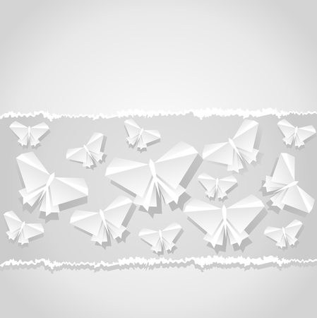 Origami  background. Paper is transformed to butterflies.