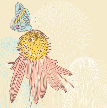floral pattern with camomile and butterfly. summer background