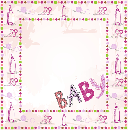 scrapbook paper: Cute scrapbook paper for girl with baby elements.