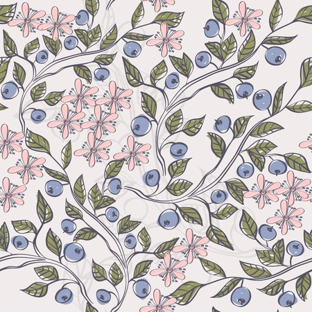 Seamless pattern with  blueberries. hand drawn floral background.