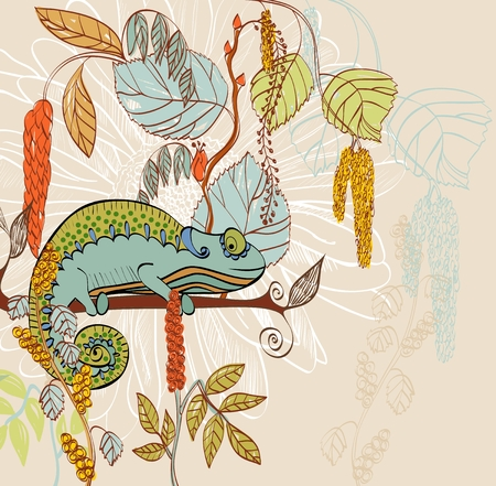 hand drawn illustration with  Chameleon. Floral background. Vectores