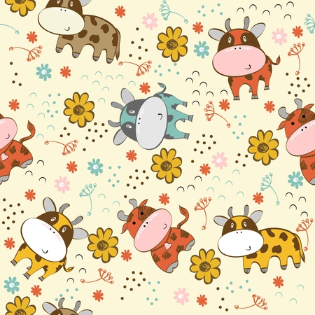 babies hand draw seamless pattern with cows