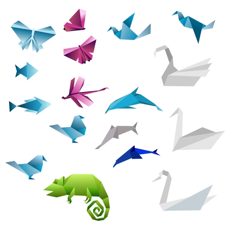 pink dolphin: Origami abstract background. Paper is transformed to animals.