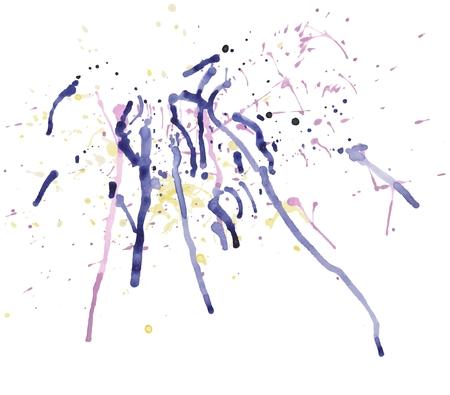 Vector watercolor background splash, blue watercolor drops