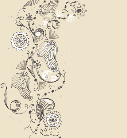 abstract flowers: Abstract background with  hand-drawn fantasy flowers .