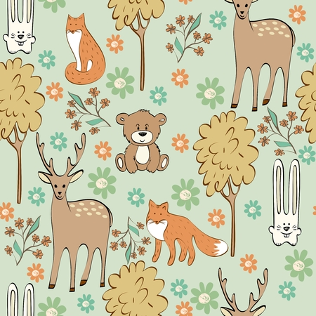 brown hare: vector cute children seamless pattern with animals