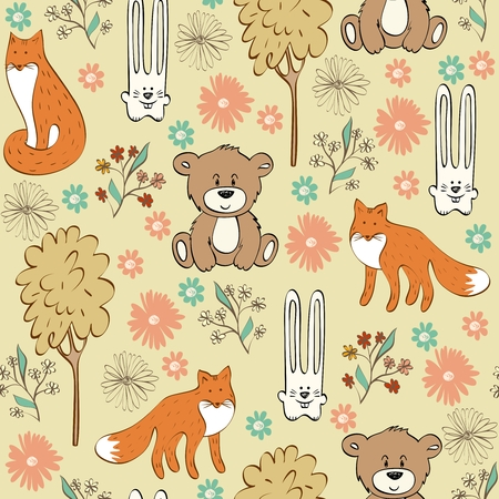 hares: Children seamless pattern with foxes and hares Illustration