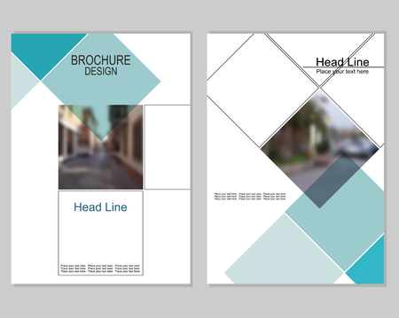 brochure cover design: Vector brochure cover templates with blurred cityscape. Business brochure cover design.