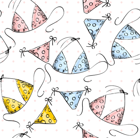 bathing suit: Art background with womens bathing suit, vector illustration.