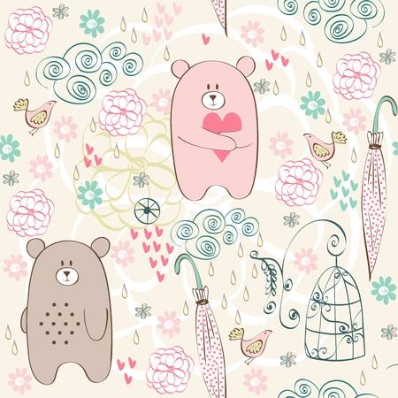 Seamless pattern with cartoon bears.